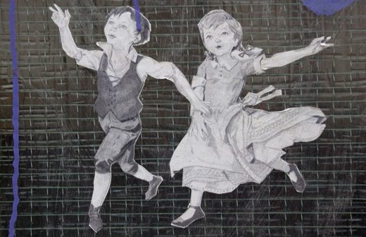 Street Art found in Melbourne's Laneways of a boy and girl skipping together holding hands - love