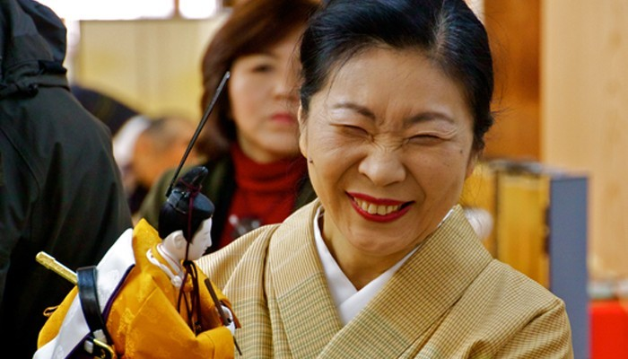 Ando Dolls in Kyoto, Japan - Mrs Ando smiling