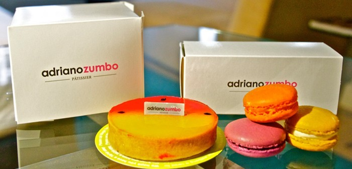 Some of Adriano Zumbo's creations in Sydney - macarons and passionfruit and mango tart