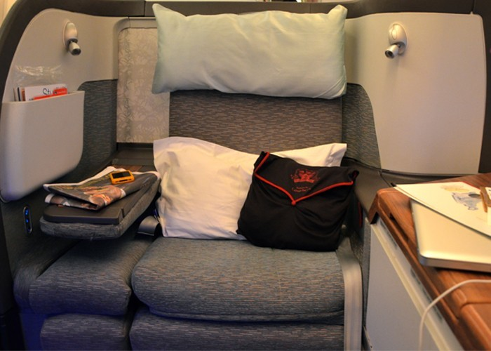 Cathay Pacific First class suite with Shanghai Tang pyjamas