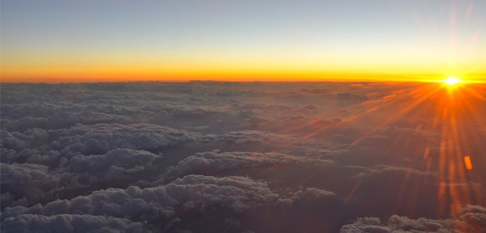 uninterrupted sunrises from inside Cathay Pacific's first class