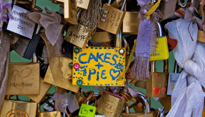 Cakes + Pie love lock on Pont de l'Archevêché in Paris, France