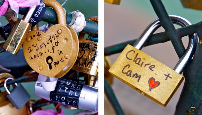 Multi language love locks on the Pont de l'Archevêché in Paris, France