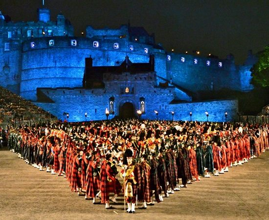 Bagpipers in formation at the Edinburgh Military Tattoo