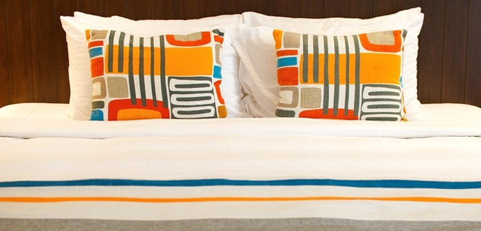 The colourful bed spreads at Lone Pine Resort in Penang, Malaysia