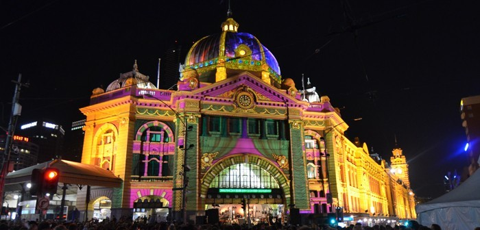 Flinders Street Station as part of White Night Melbourne was lit up and provided the perfect entertainment stage